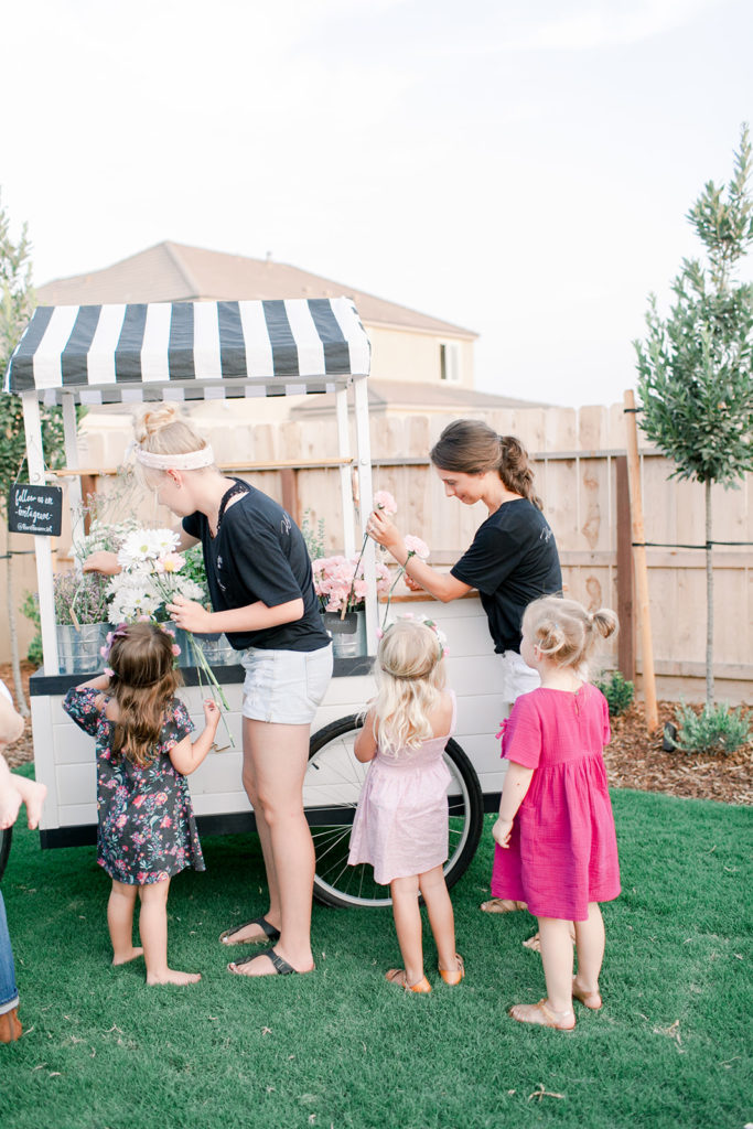 Nicole Eachus, ellery birthday, ellery is one, garden party, flora flower cart